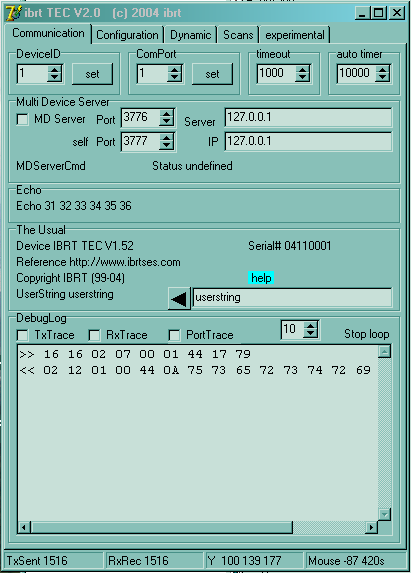 a TEC user interface
